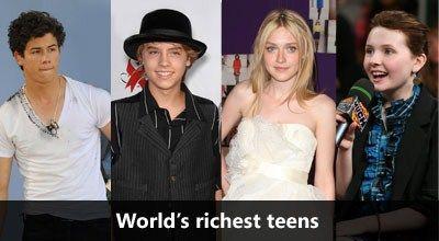 Richest Celebrity Teens 2010-2011