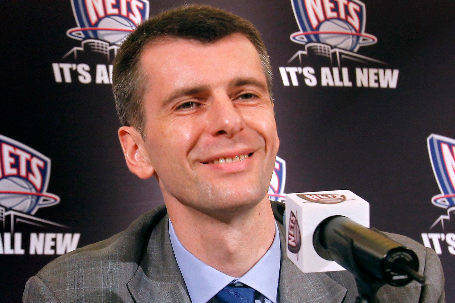 New Jersey Nets owner, Russian billionaire Mikhail Prokhorov, is introduced to the press during a news conference in New York